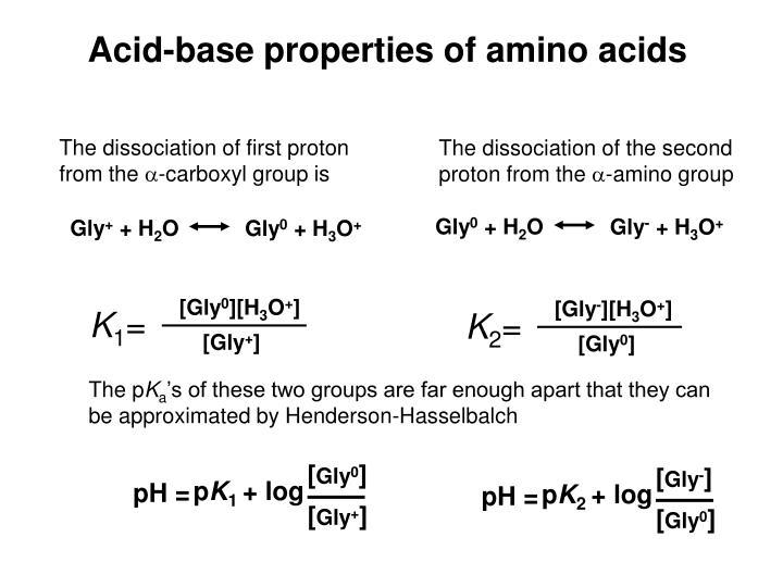 Acid-base properties of amino acids
