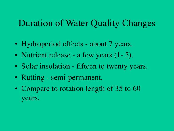 Duration of Water Quality Changes