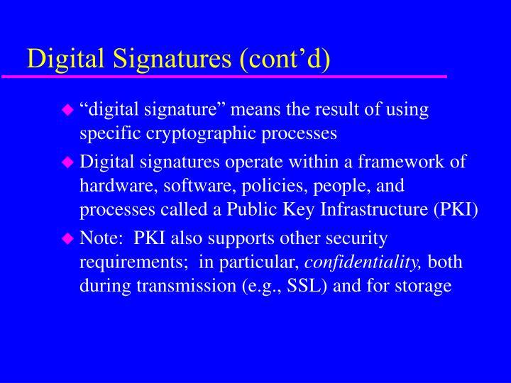 Digital signatures cont d