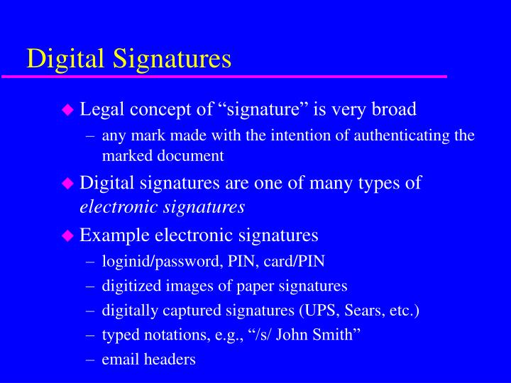 Digital signatures1