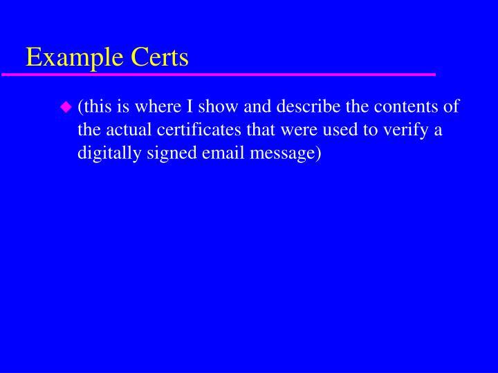 Example Certs