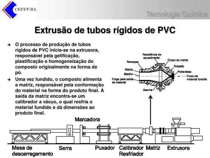 O processo de produção de tubos rígidos de PVC inicia-se na extrusora, responsável pela gelificação, plastificação e homogeneização do composto originalmente na forma de pó.