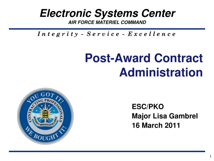 post award contract administration n.