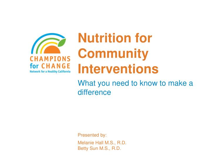 nutrition for community interventions n.