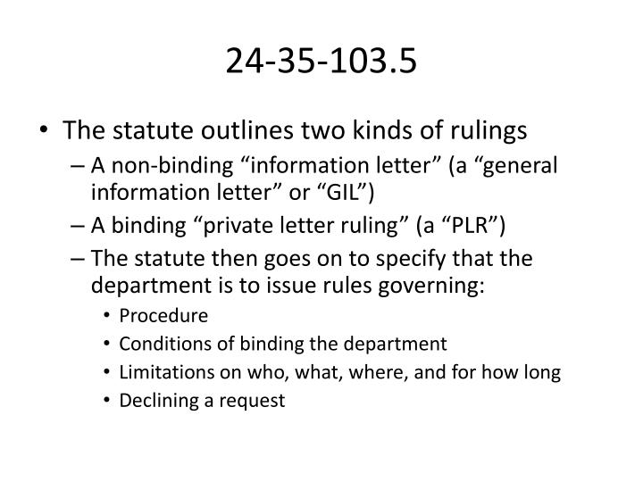 PPT Colorado Private Letter Rulings PowerPoint Presentation ID