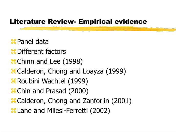 literature review and empirical evidence Empirical research is defined as research based on observed and measured phenomena it is research that derives knowledge from actual experience rather than from theory or belief requests for empirical articles are usually from instructors in education or psychology most other disciplines will ask for scholarly , peer reviewed or primary.