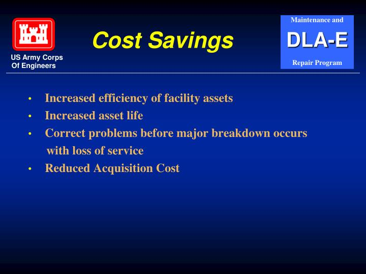 Increased efficiency of facility assets