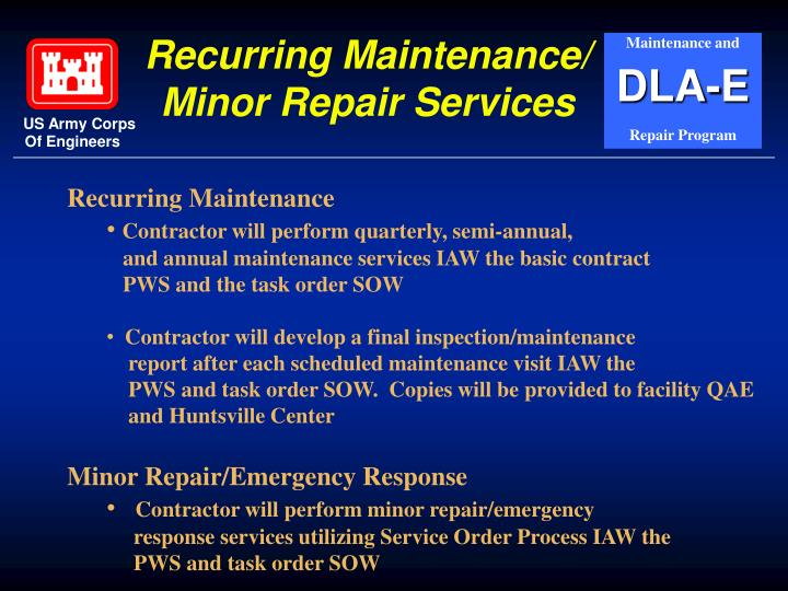Recurring Maintenance/