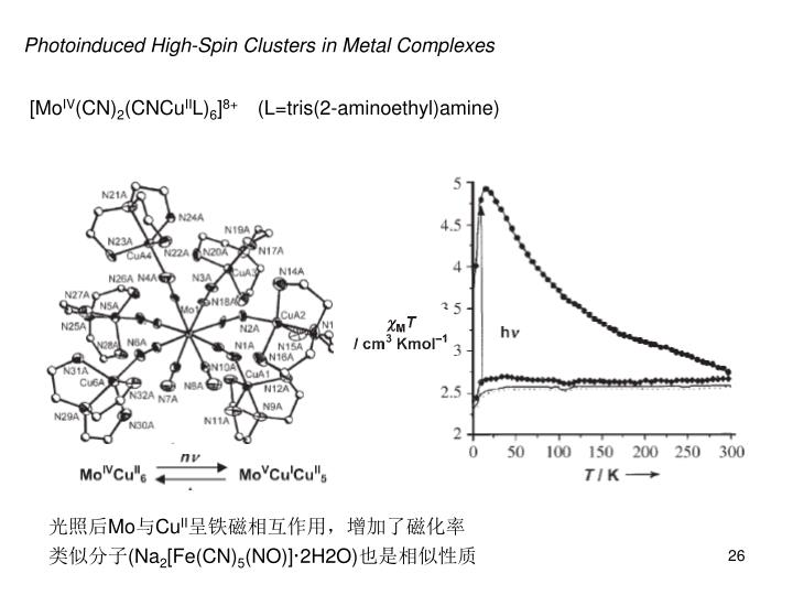 Photoinduced High-Spin Clusters in Metal Complexes