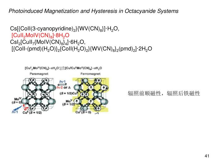 Photoinduced Magnetization and Hysteresis in Octacyanide Systems