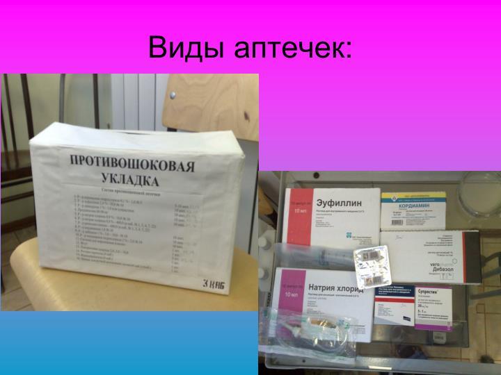 Виды аптечек: