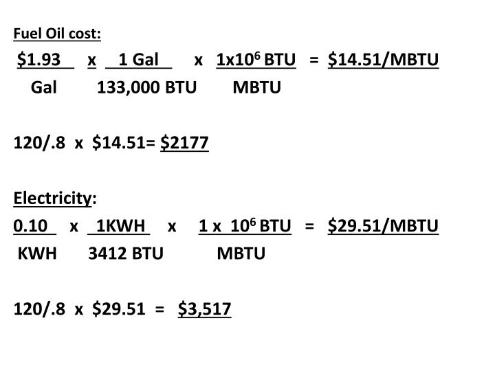 Fuel Oil cost: