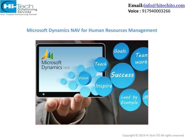 Microsoft dynamics nav for human resources management