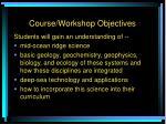 course workshop objectives