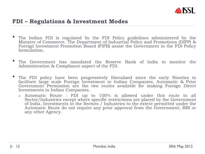 FDI – Regulations & Investment Modes