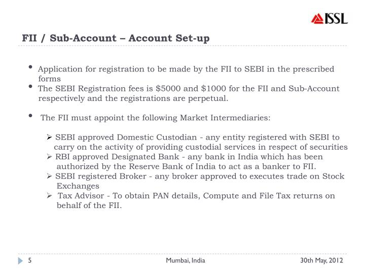FII / Sub-Account – Account Set-up