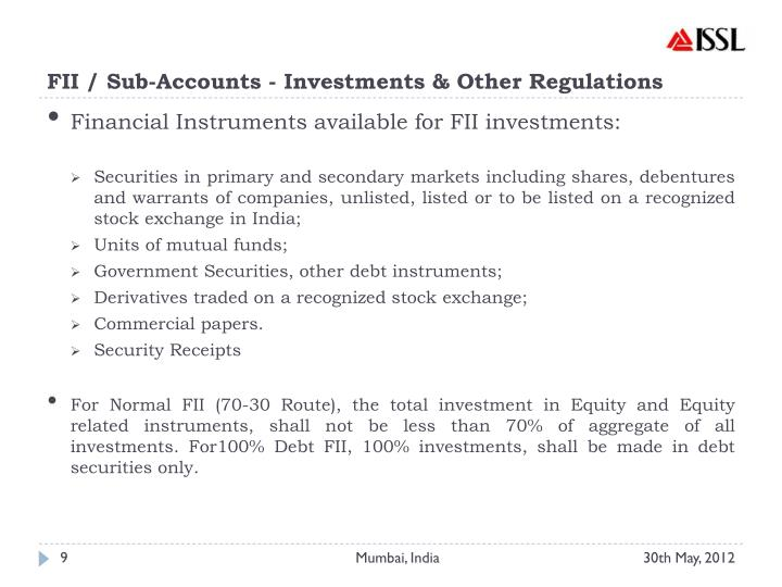 FII / Sub-Accounts - Investments & Other Regulations