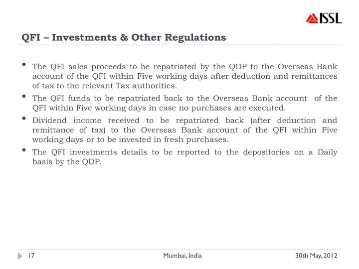 QFI – Investments & Other Regulations