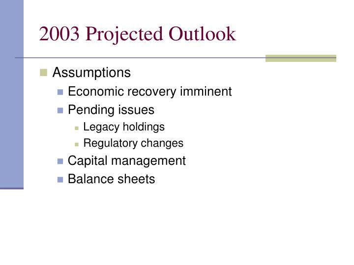 2003 Projected Outlook