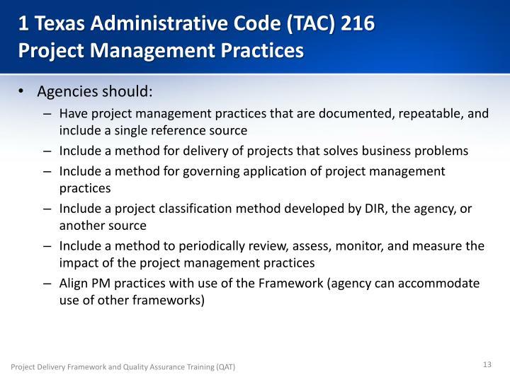 1 Texas Administrative Code (TAC) 216