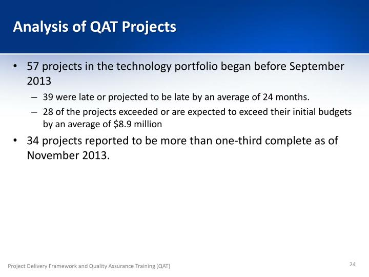 Analysis of QAT Projects