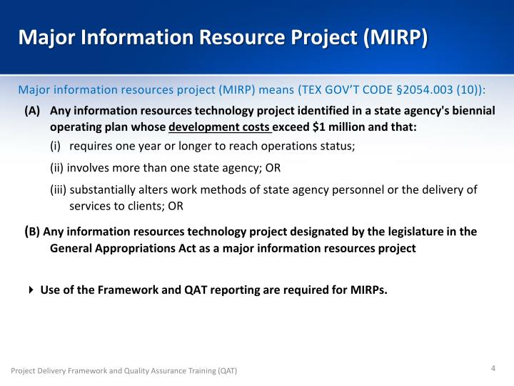 Major Information Resource Project (MIRP)