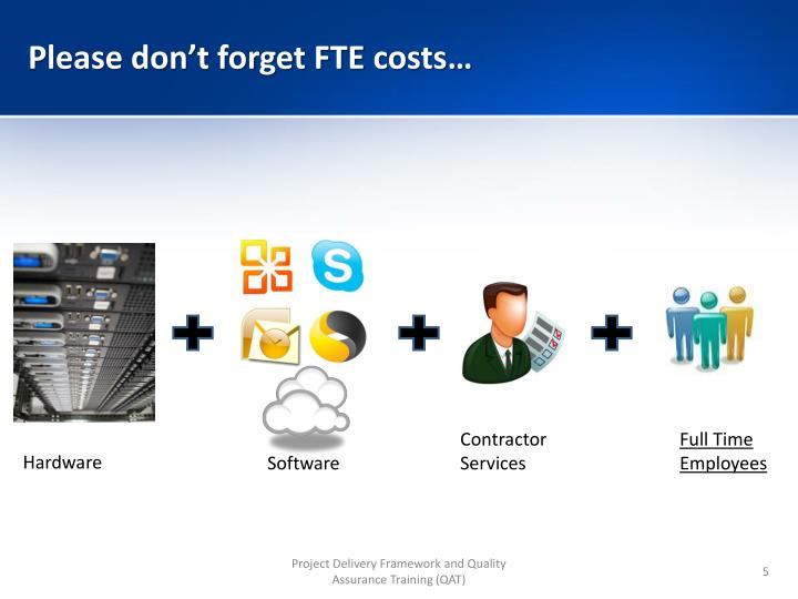 Please don't forget FTE costs…