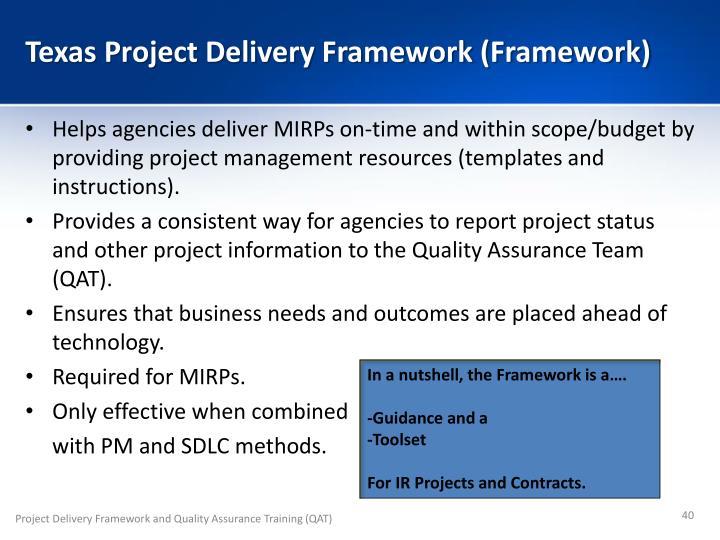 Texas Project Delivery Framework (Framework)