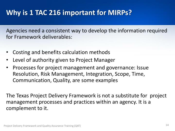 Why is 1 TAC 216 important for MIRPs?