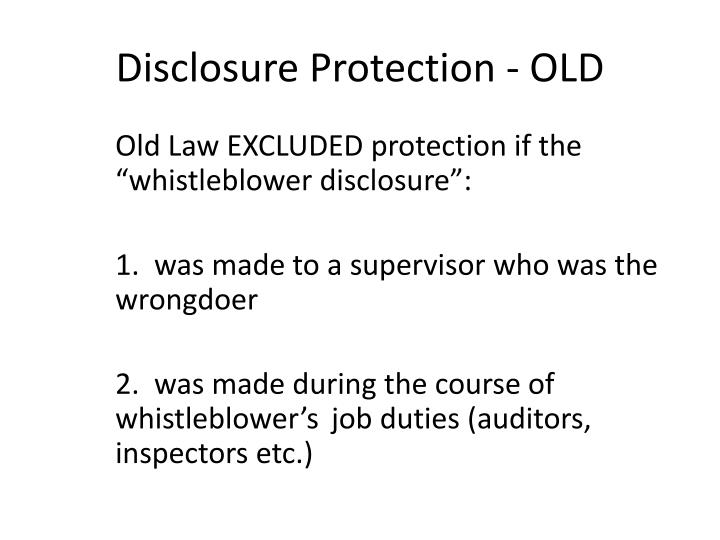 Disclosure Protection - OLD
