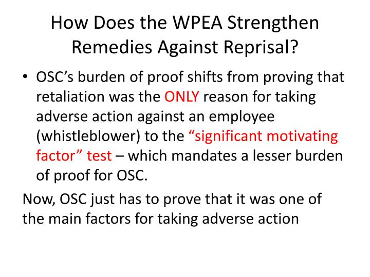 How Does the WPEA Strengthen Remedies Against Reprisal?
