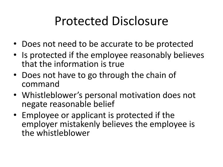 Protected Disclosure