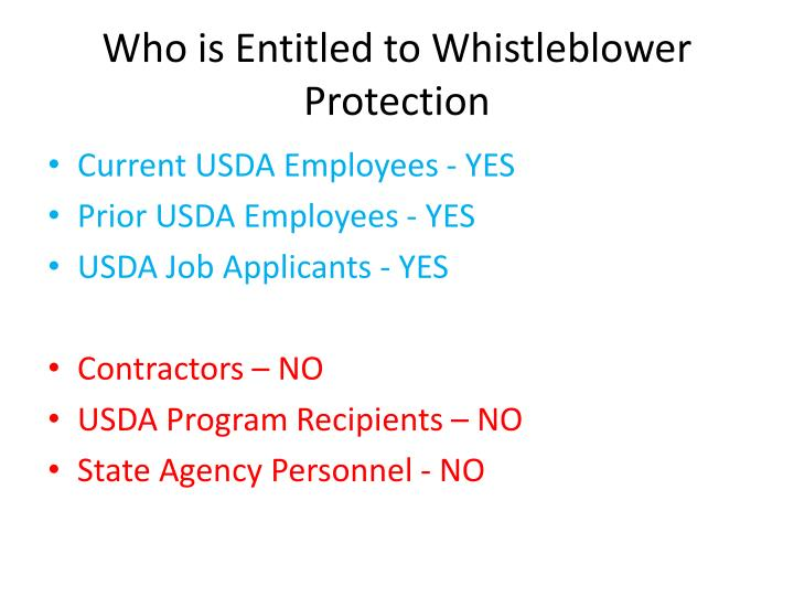 Who is Entitled to Whistleblower Protection
