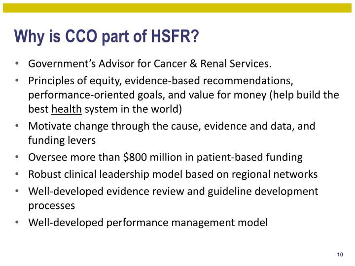 Why is CCO part of HSFR?