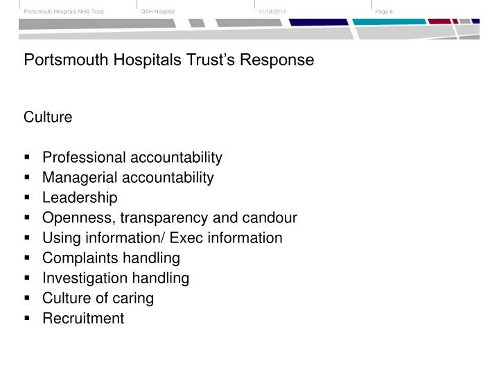 Portsmouth Hospitals Trust's Response