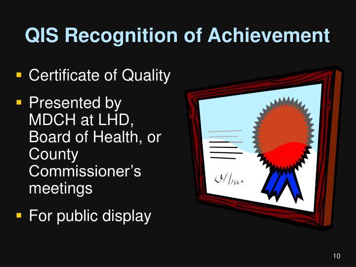 QIS Recognition of Achievement