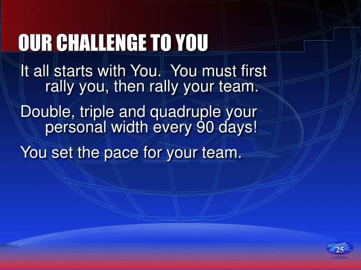 OUR CHALLENGE TO YOU