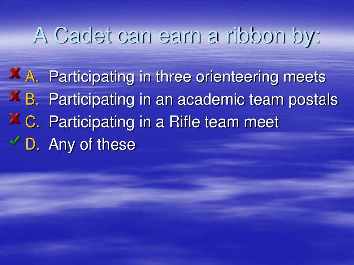 A Cadet can earn a ribbon by: