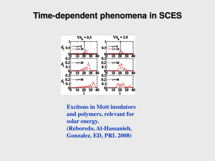 Time-dependent phenomena in SCES