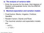 e the analysis of variance table10