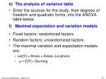 e the analysis of variance table7