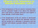influence of air temperature on altimeter indications cont d