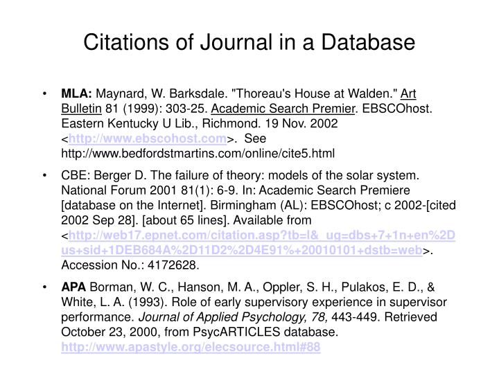 Citations of Journal in a Database