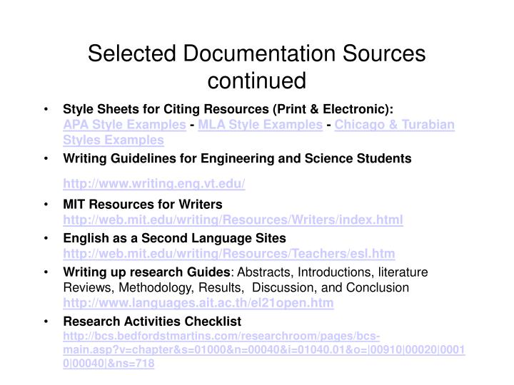 Selected Documentation Sources continued