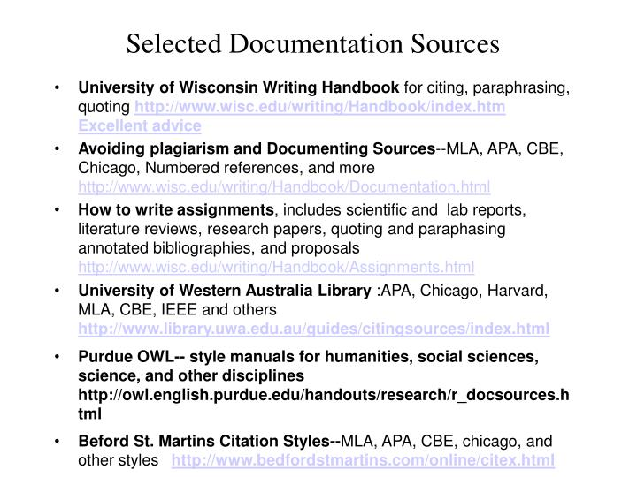Selected documentation sources