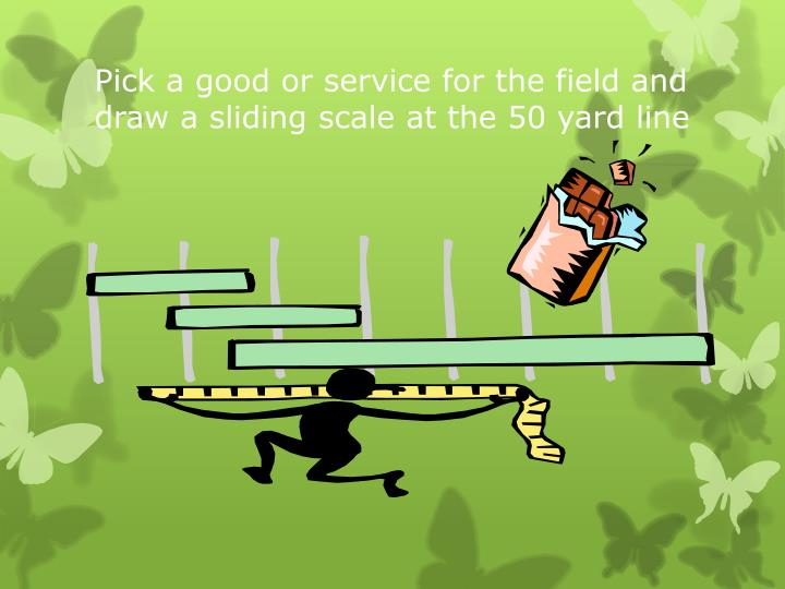 Pick a good or service for the field and draw a sliding scale at the 50 yard line