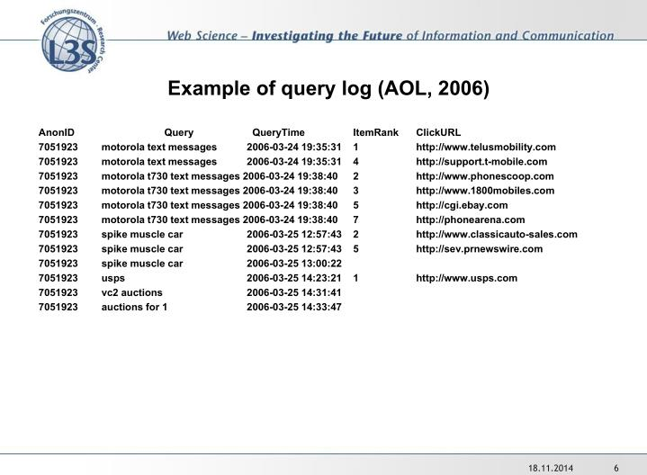 Example of query log (AOL, 2006)