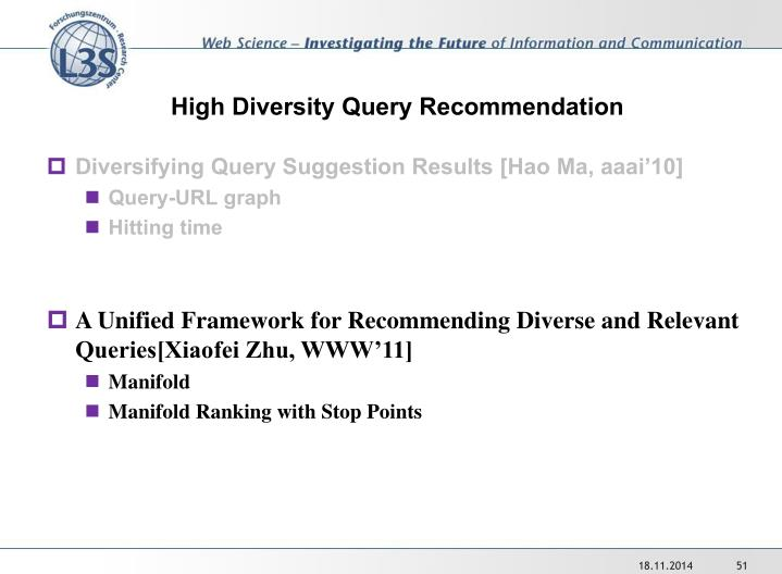 High Diversity Query Recommendation