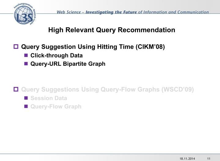 High Relevant Query Recommendation