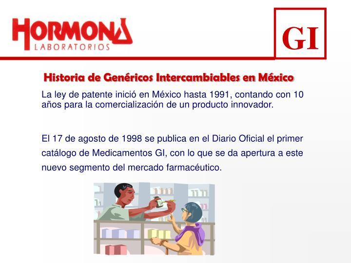 La ley de patente inició en México hasta 1991, contando con 10 años para la comercialización de un producto innovador.